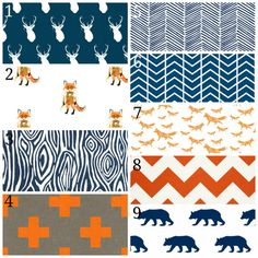 Modern Woodland Baby Bedding Set, 3 Piece Set, Crib Sheet, Crib Skirt, Bumper, Navy Blue and Orange, Deer, Fox, Bear, Boy Nursery