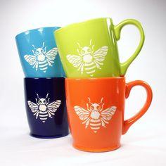 sandblasted honey bee mugs set