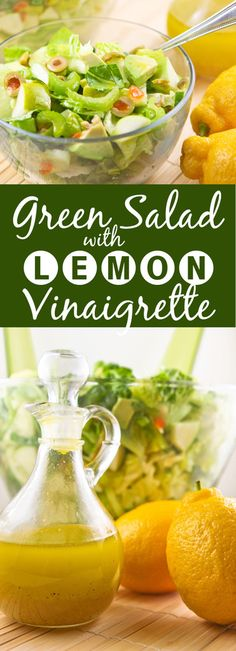 Green Salad with Lemon Vinaigrette | With only green foods in this salad, it is packed with flavor and SO DELICIOUS! One of my all-time faves.