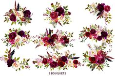Boho Burgundy Watercolor Flowers by whiteheartdesign on @creativemarket