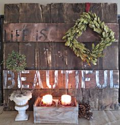 Rustic, reclaimed lumber pallet sign, by Down To Earth Home, featured on I Love That Junk. Beautiful indeed!