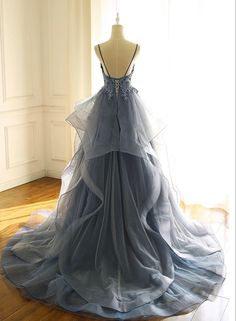 Buy Spaghetti Straps Blue Gray Tulle V Neck Long Ruffles Prom Dresses with Lace Applique online.Shop short long ombre prom, homecoming, bridesmaid evening dresses at Couture Candy Cocktail party dresses, formal ball gowns in ombre colors. Pretty Prom Dresses, Blue Evening Dresses, V Neck Prom Dresses, Elegant Prom Dresses, Grad Dresses, Bridal Dresses, Beautiful Dresses, Formal Dresses, Sexy Dresses