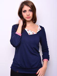 Longsleeves - *** Jersey Shirt - blau - Blumen - Blüten - ein Designerstück von stadtkind_potsdam bei DaWanda
