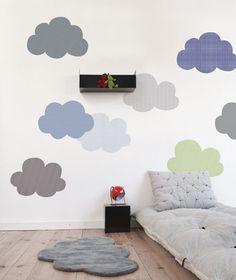 Sticker décoratif chambre d'enfant et bébé: Nuage XL - Rayé noir