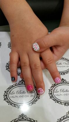 Mini Barbie nails #handpainted #shellacnails #ilovewhatido #decals #glitter