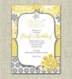 Modern 40th Birthday Invitation Invite Yellow Gray Flowers Mod - Digital Printable by girlsatplay girls at play. $12.00, via Etsy.