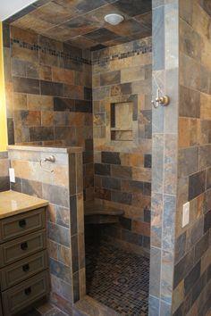 31 Ideas Doorless Shower Remodel Walk In For 2019 Rustic Bathroom Designs, Bathroom Ideas, Shower Ideas, Diy Shower, Showers Without Doors, Master Bathroom Shower, Bathroom Small, Small Rustic Bathrooms, Open Showers