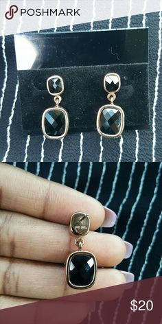 Folli Follie earrings Authentic USED Lost backings I replaced them with the plastic backings Elegant black crystal dangle  mix and match with your popular wardrobe favorites day to night Folli Follie  Jewelry Earrings