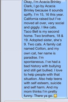 If any of you are wondering who Acacia Clark is, this pretty much explains it