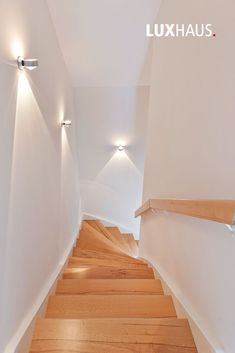 Stair design with lighting # stairs # design # stair railing # wooden stairs . - Stair design with lighting # stair railing stairs - Wooden Staircase Design, Staircase Railings, Wooden Stairs, Modern Staircase, Stair Design, Stairway Lighting, Home Lighting, Luminaire Mural, Escalier Design