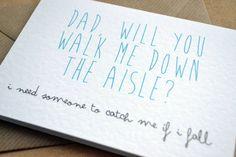 Wedding Greetings Card Dad Will You Walk Me Down by AmysAvenueUK