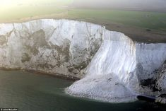 The huge rockfall has left thousands of tons of chalk at the base of the famous Dover cliffs