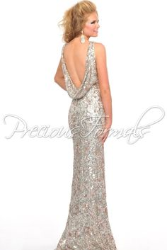 A Popular one this season! Stunning Ivory Sequin Illusion Evening Gown with a Low Cowl back – Prom Dresses Online – Precious Formals L8916 -