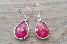 Ruby Earrings - Silver Teardrop Earrings - July Birthstone Earrings - Silver Ruby Earrings - Natural Ruby Gemstone Earrings