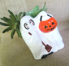 1970s Halloween Ghost Pumpkin Planter by looseendsvintage on Etsy