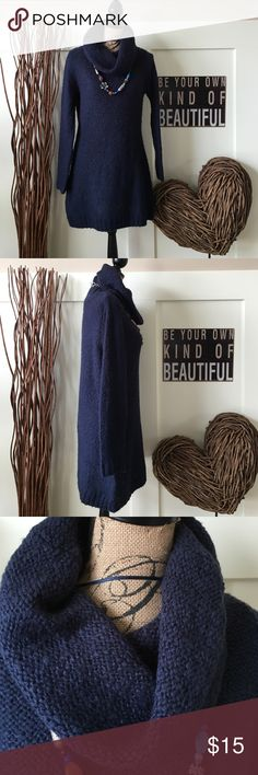 Relativity cowl neck tunic sweater This bulky knit sweater looks great with leggings or tights and your favorite boots.  Dark blue denim color is so pretty. Relativity Sweaters Cowl & Turtlenecks