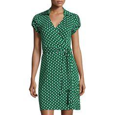 Diane Von Furstenberg Jilda Two Dot-Print Wrap Dress (285 CAD) ❤ liked on Polyvore featuring dresses, green pattern, green jersey, green dress, green polka dot dress, wrap around dress and jersey dress