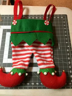 Elf Stocking - Elf pants - Embroidered Christmas Stocking - Stockings - Elf Stockings - Elf Pant Stockings - name christmas by PryncessStitch on Etsy Embroidered Christmas Stockings, Christmas Stocking Pattern, Christmas Sewing, Christmas Projects, Christmas Clothes, Xmas Stockings, Christmas Makes, Felt Christmas, Christmas Ornaments