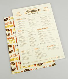 Chiwawa's menu. Festive colors and retro-Americana typography with plenty of ¡!s to spice things up.