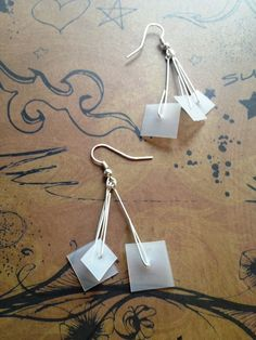 Upcycled Milk Jug Plastic Dangle Recycled Eco-Earrings - FREE SHIP & NO FEES $12.00