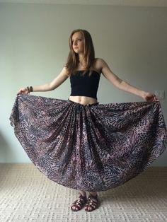 70s India Cotton Gauze Skirt BOHO Gypsy Maxi Skirt, Paper Thin, High Waist Circle SKirt, Circle Skirt Maxi, Animal Print, Hippie Skirt by MileZeroVintage on Etsy