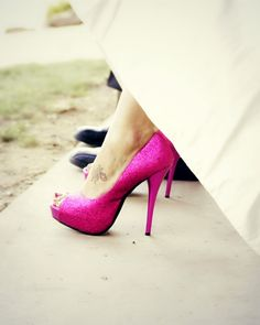 Hot Pink Shoes | Photo by:  gabrielleorcutt.com. Bridal shoes