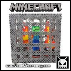 3D Perler Bead Minecraft Zombie Spawner (Standing about 6 inches tall, with 4 flickering LED flames, and a small on/off switch on the side) - By Voxel
