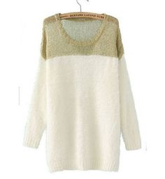 Chic Vogue Color Matching Long Sleeve Knitting Sweater