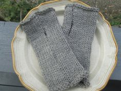 Large Grey Knitted Grey Acrylic Fingerless Gloves by SuzannesStitches, Grey…