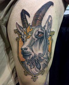 Chris Primm – Tattoo World Tattoo Goat, Ram Tattoo, Blue Tattoo, Chest Tattoo, Color Tattoo, Taurus Bull Tattoos, Zodiac Tattoos, Hand Tattoos, Sleeve Tattoos
