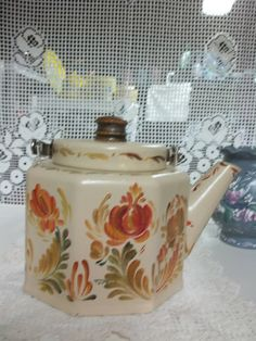 Six Sided Enamelware Tea Pot Hand Painted in an by FolkArtByNancy, $22.00