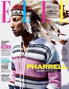 Did Pharrell cross the line? Elle magazine cover with Pharrell sporting Native American cultural appropriation. Still a fan cause we all make mistakes. Pharrell Williams, Elle Magazine, Magazine Covers, Black Magazine, Magazine Design, Magazine Rack, Elle Fashion, Star Fashion, Fashion Music