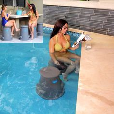 Removable Swim up Bar Stool Can be used both IN-pool and poolside for socializing & lounging.