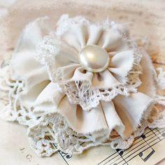 Flower Pin Handmade from Vintage Materials