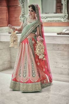 Bridal Lehenga - Sea Green and Pink Striped Lehenga | WedMeGood #wedmegood #bridal #lehenga