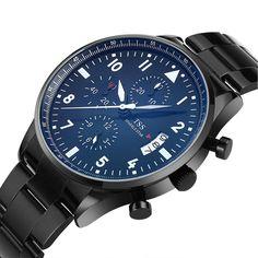 TSS Men's Black Dial White Hand Black Stainless Steel Band Quartz Movement Wrist Watch