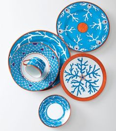 Turquoise and Orange | Alberto Pinto Lagon place setting