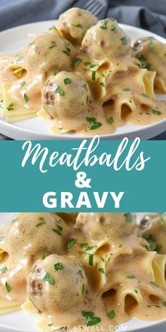 In this meatballs and gravy recipe, beef meatballs are browned and cooked in rich and creamy gravy. Making a delicious comfort food meal! beef meatballs Meatballs and Gravy Casserole Recipes, Meat Recipes, Cooking Recipes, Beef Recepies, Recipies, Dinner Recipes, Game Recipes, Oven Recipes, Vegetarian Cooking