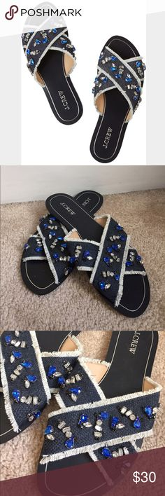 J Crew Cyprus Blue Crystal Sandals Gorgeous navy Cyprus sandals with jewel accents. Have been lightly worn but as shown in the pictures there's two spots where the crystals are missing. Does not affect use nor can they really be seen when worn. These shoes are hot and are going for a pretty penny on eBay so please no low balling!! J. Crew Shoes Sandals