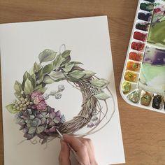 오랜만에 붓을 잡았다^^ 드라이 플라워 느낌으로 그리기~ #핀터레스트에서본리스참고  #수채화#드라이플라워#리스 #watercolor#dryflower #art#artwork#그림#세밀화 #flower#꽃#꽃스타그램