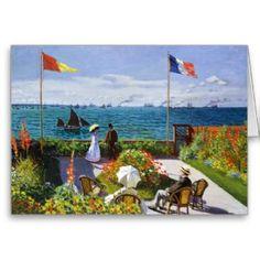 SOLD! X2 - Garden at Sainte-Adresse, 1867 Claude Monet Greeting Cards #garden #sainte #adresse #monet #impressionism #painting #art #card