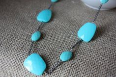 Silver chain necklace with turquoise beads by AddSomeCharmBoutique, $14.95
