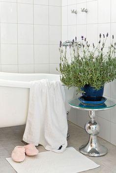 Alakerran kylpyhuoneessa on K-raudasta hankittu nostalginen amme ja valkoiset laatat. Laventeli viihtyy sinisessä ruukussaan Cobellon pyöreällä pöydällä.
