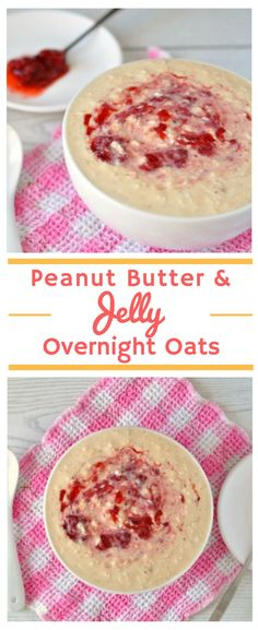 Peanut Butter Overnight Oats with Jelly | These healthy overnight oats are amazing! They're so quick and easy to make and really do remind me of the classic PB&J sandwich. One of the best healthy overnight oats for weight loss recipes out there. #healthyb
