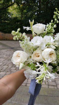 Delphinium Wedding Bouquet, Lisianthus Bouquet, Garden Rose Bouquet, Rose Bridal Bouquet, Garden Roses, Green And White Wedding Flowers, Romantic Wedding Flowers, Wedding Flower Inspiration, Small Wedding Bouquets