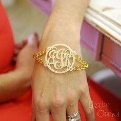Vine duo acrylic monogram bracelet (an original ElizaJayCharm design) by ElizajayCharm on Etsy
