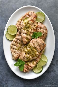 Grilled Mint Lime Chicken Breast Recipe shewearsmanyhats.com #chicken #grilled #lime