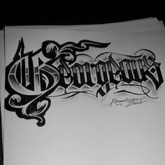 Georgeous Tattoo Lettering Styles, Chicano Lettering, Tattoo Script, Graffiti Lettering, Tattoo Fonts, Hand Lettering Alphabet, Graffiti Alphabet, Script Lettering, Typography Letters