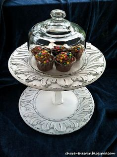 So pretty!  Made with thrift store finds! DIY Cupcake Stand and Cloche
