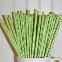 Paper Straws  Set of 25  Ribbon  Green by alisamariedesigns, $4.25